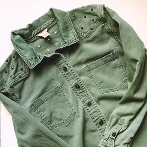 Forever 21 - Army Green Distressed Button Down